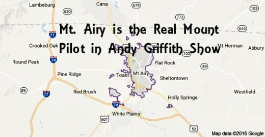 "Mount Airy, the real name of ""Mayberry,"" N.C., is where the Andy Griffith Show originated, but in reality was filmed in a back lot on CBS Television Studios property to resemble Mount Airy"