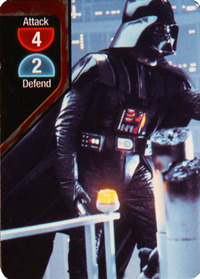 A Darth Vader card with an Attack of 4 and Defense of 2