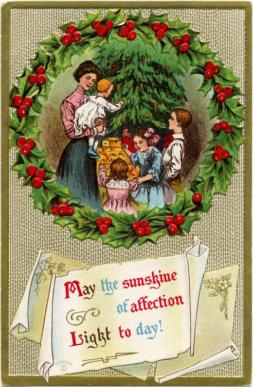 A Victorian mother and her four children gathered around a decorated Christmas tree. They are framed within a wreath of holly and berries