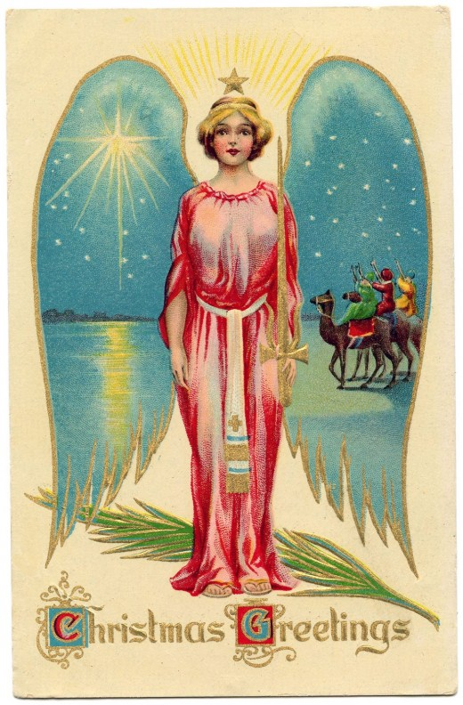Vintage Christmas Image – Starry Winged Angel
