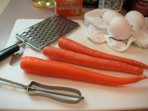 Start by peeling three firm, medium sized carrots.
