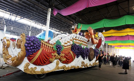 Parade floats inside Mardi Gras World