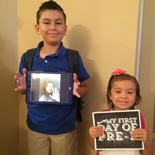 Leslie's and my niece and nephew, ready for school.