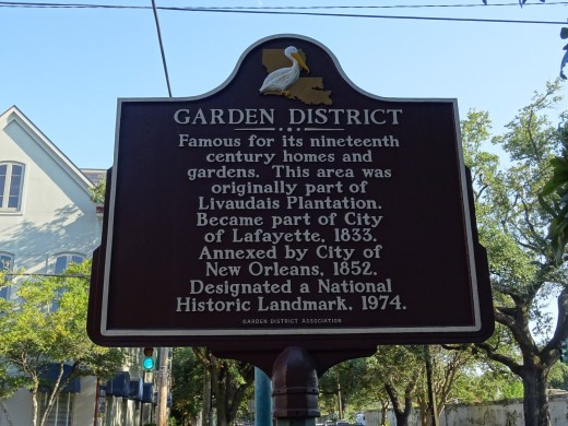 History board placed in the Garden District