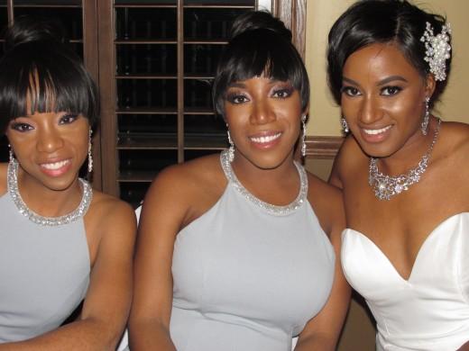 My daughters, Wanisha and Jaleesa, served as Darlena's bridesmaids.
