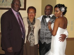 Darlena and Raymond gathered for photos with friends of the family during the reception..