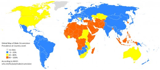 Map of circumcision rates worldwide