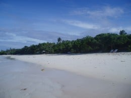 A view of the white beach in the island resort.