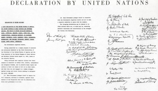 A copy of the UN Charter, created in 1945.