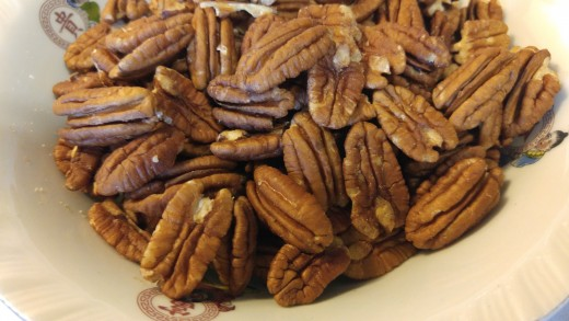 One pound of pecans.  Set aside some for the top when you finish.