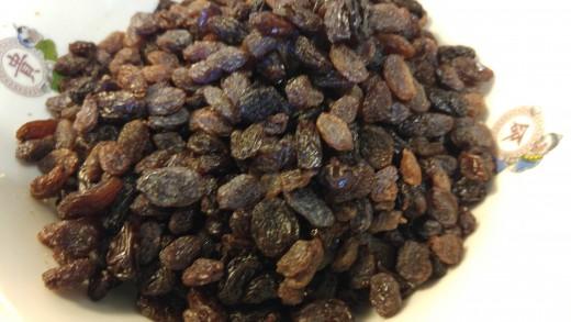 Add one pound of raisins.