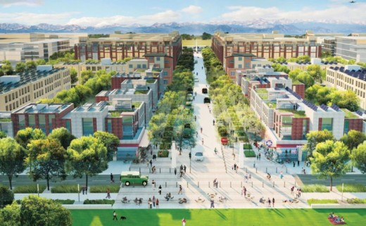 This artist rendering shows Peña Station Next in Denver, where Solar Decathlon 2017 will take place exactly one year from today. | Image courtesy of City and County of Denver.