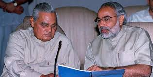 Modi with Atal Bihari Vajpayee in 2002