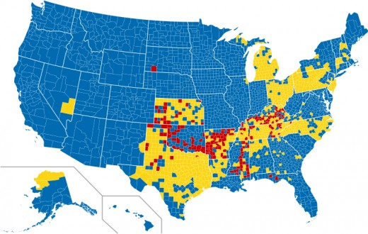 dry counties in  USA October 2012 red=dry yellow=mixed,blue=wet