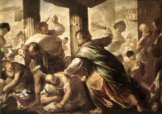 Jesus attacks the merchants