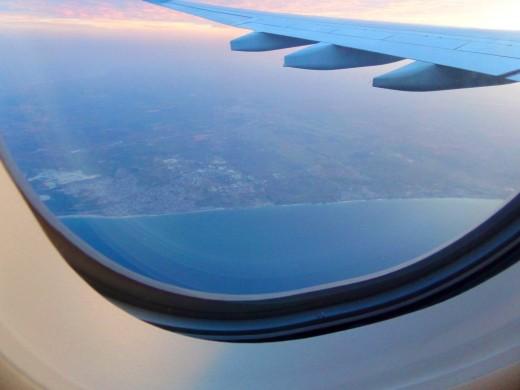 Flying a little outside of over Dakar