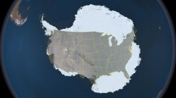 The vastness of Antarctica compared to the continental United States, shows just how much could be hidden beneath the ice.