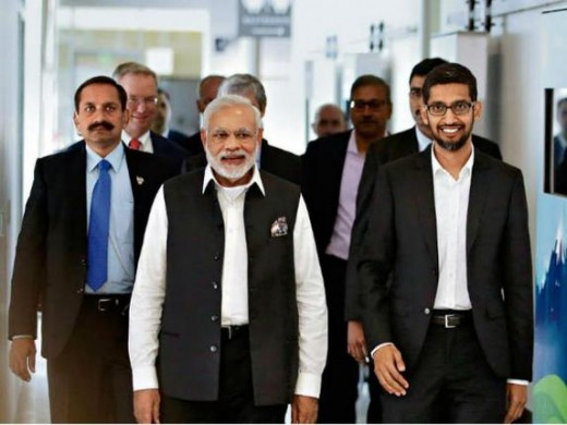 Modi meeting IT professionals at Silicon valley,   USA