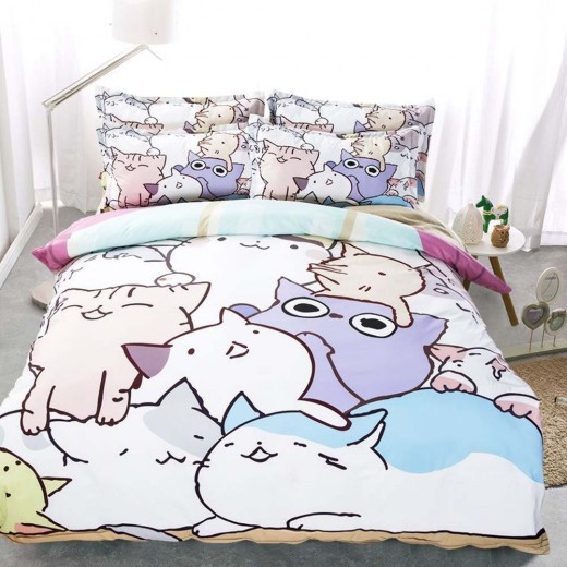 Cartoon cats sheet set and duvet cover