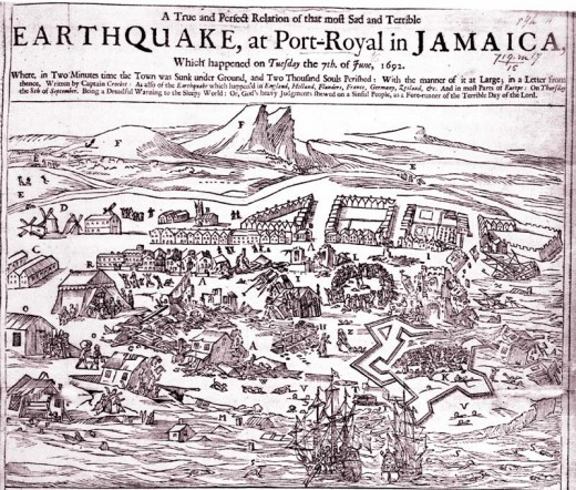 British depiction of the earthquake that destroyed Port Royal, Jamaica on Saturday, 7 June 1692 (the population moved to what would become Kingston after that).