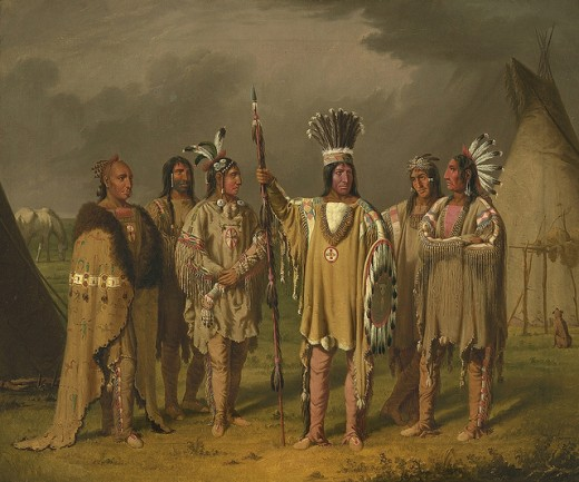 Six Blackfeet Chiefs painted by Paul Kane (1810 - 1871)