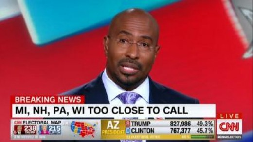 "CNN host Van Jones has a meltdown  shortly after the election is called, claiming, ""This was a whitelash, a whitelash against a changing country. A whitelash against a black President. That's the part where the pain comes."""