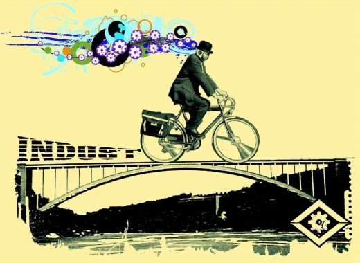 Professional artist rendition of Albert Hofmann's bike ride