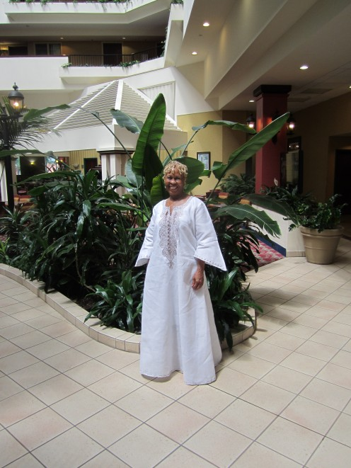 Rev. Sandy in a traditional African dress.