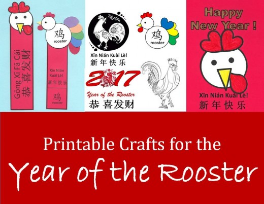a collection of printable crafts for year of the rooster you can print chinese new year art projects