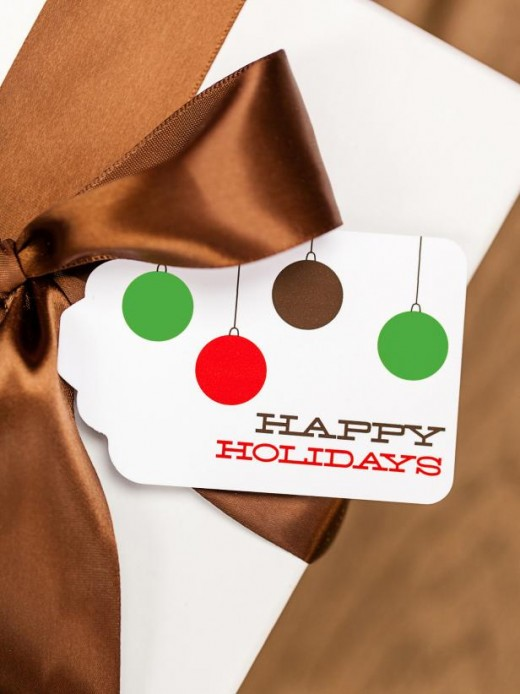 These printable gift tags from TomKat Studio have colorful ornaments on them ... and they are free.