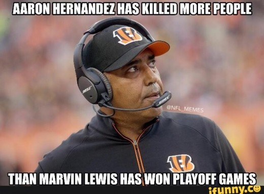 Cincinnati Bengals head coach Marvin Lewis doesn't have such a great playoff record