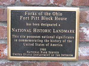 Plaque in front of Fort Pitt Block House