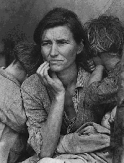 Dorothea Lange's Migrant Mother depicts destitute pea pickers in California, centering on Florence Owens Thompson, age 32, a mother of seven children, in Nipomo, California, March 1936