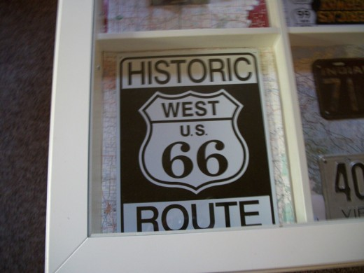 My favorite: Historic Route 66 tin sign.