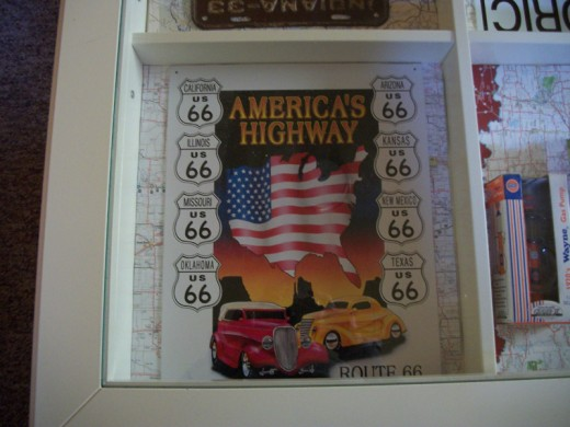 On the other side of the table is this America's Highway Route 66 tin sign.