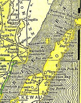 Door County taken from the 1895 U.S. Atlas
