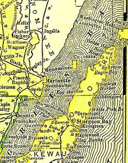 Door County taken from the 1895 U.S. Atlas