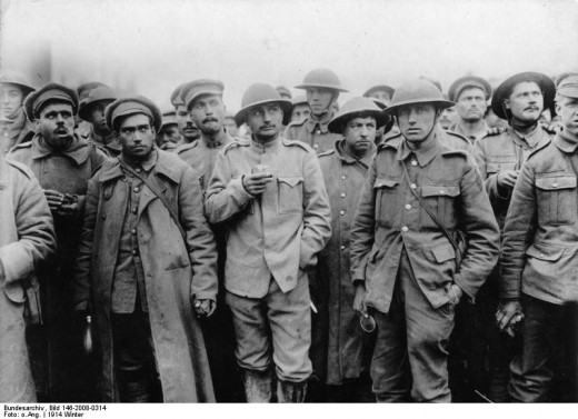 Portuguse POWS.  This picture is probably from April 1918 after the Battle of the Lys, of which the Battle of Armentieres was a part.