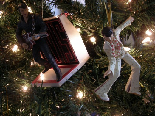 Elvis mania is clearly evident on the tree.  There are so many Elvis ornaments, that they could fill a small tree.