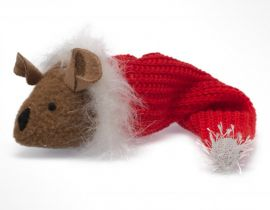 This mouse in a Christmas stocking is a cute stocking stuffer for your cat