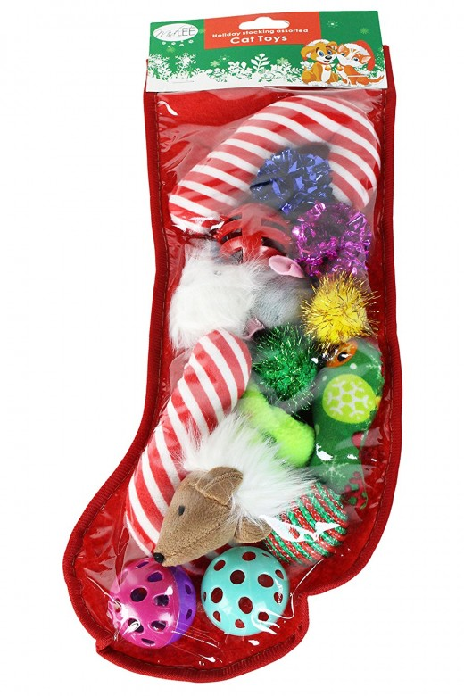 Here's a Christmas stocking for cats full of fun toys