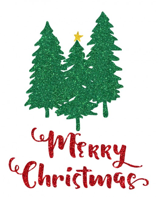"Find three Christmas trees and the holiday greeting ""Merry Christmas"".  The writing is shown in 3 different fonts for you to choose from."