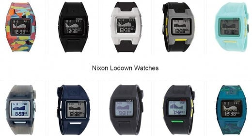A selection of Nixon's Lodown Watches.