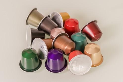 Nespresso aluminum coffee capsules.