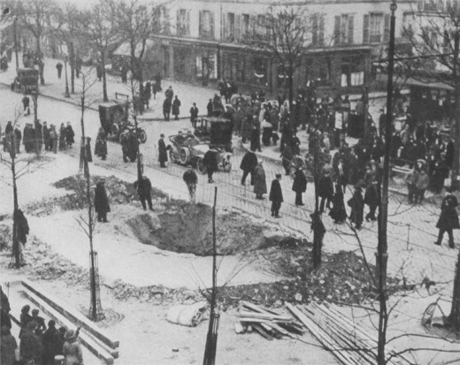 Crater of a Zeppelin bomb in Paris