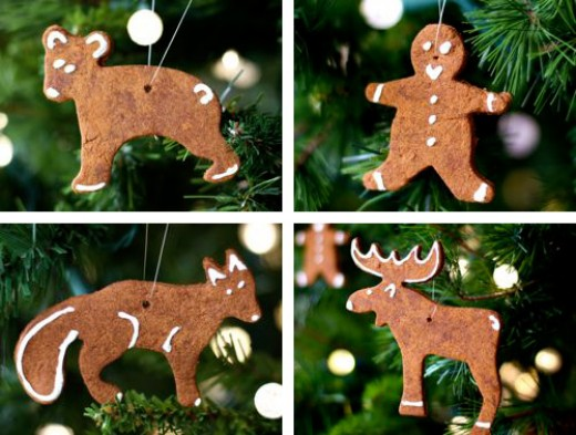 Animal cookie cutters make great ornaments when used with homemade cinnamon dough