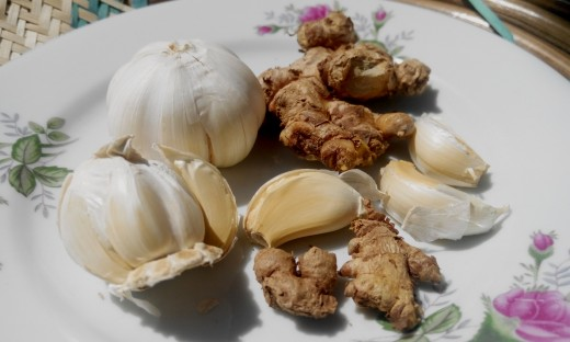 Ginger and garlic Cloves used commonly for their Antibiotic properties. They are effective for treatment of Bacterial pharingitis when used together with Cayenne pepper