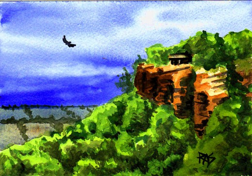 "Barbara's Lookout (Mt. Petit Jean), 5"" x 7"" watercolor, Robert A. Sloan"