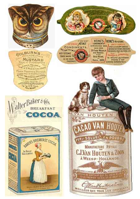 Examples of art work on product labels.