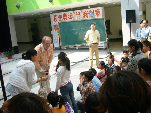 Robert doing a special class at Tianjin Youth Community Center